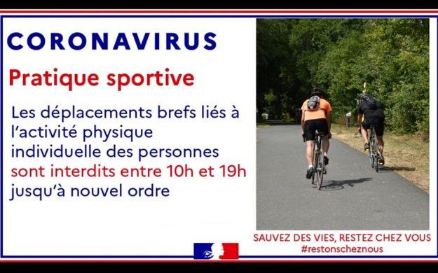Covid-19 – Sorties sportives interdites entre 10h et 19H